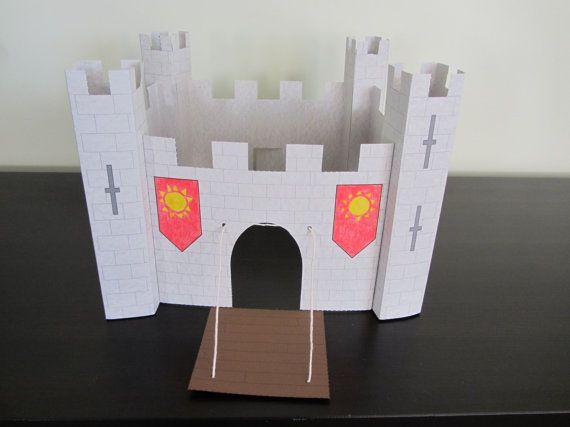 3d Paper Castle Craft Instant Download Template Etsy Castle Crafts Paper Castle Projects For Kids