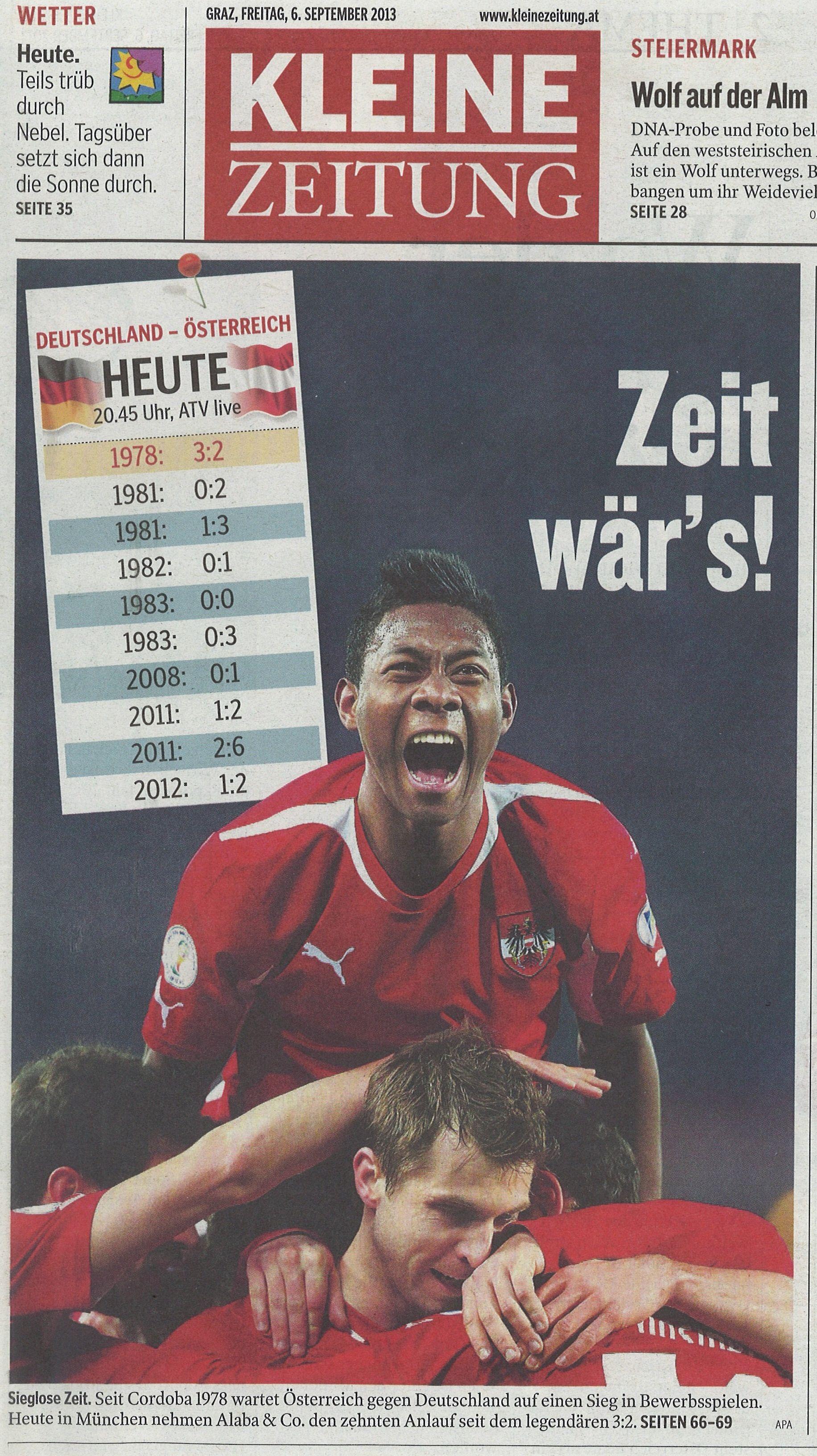 'Zeit wär's!' Netter Aufmacher der 'Kleinen Zeitung' zum heutigen Match Deutschland : Oesterreich #autvsger #Fussball