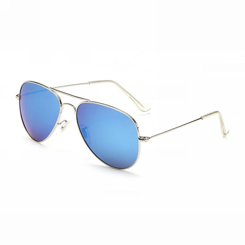 Military Polarized Pilot Sunglasses Metal Frame Silver/Mirror Ice Blue
