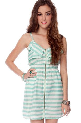 Front and Zipper Striped Dress in Mint