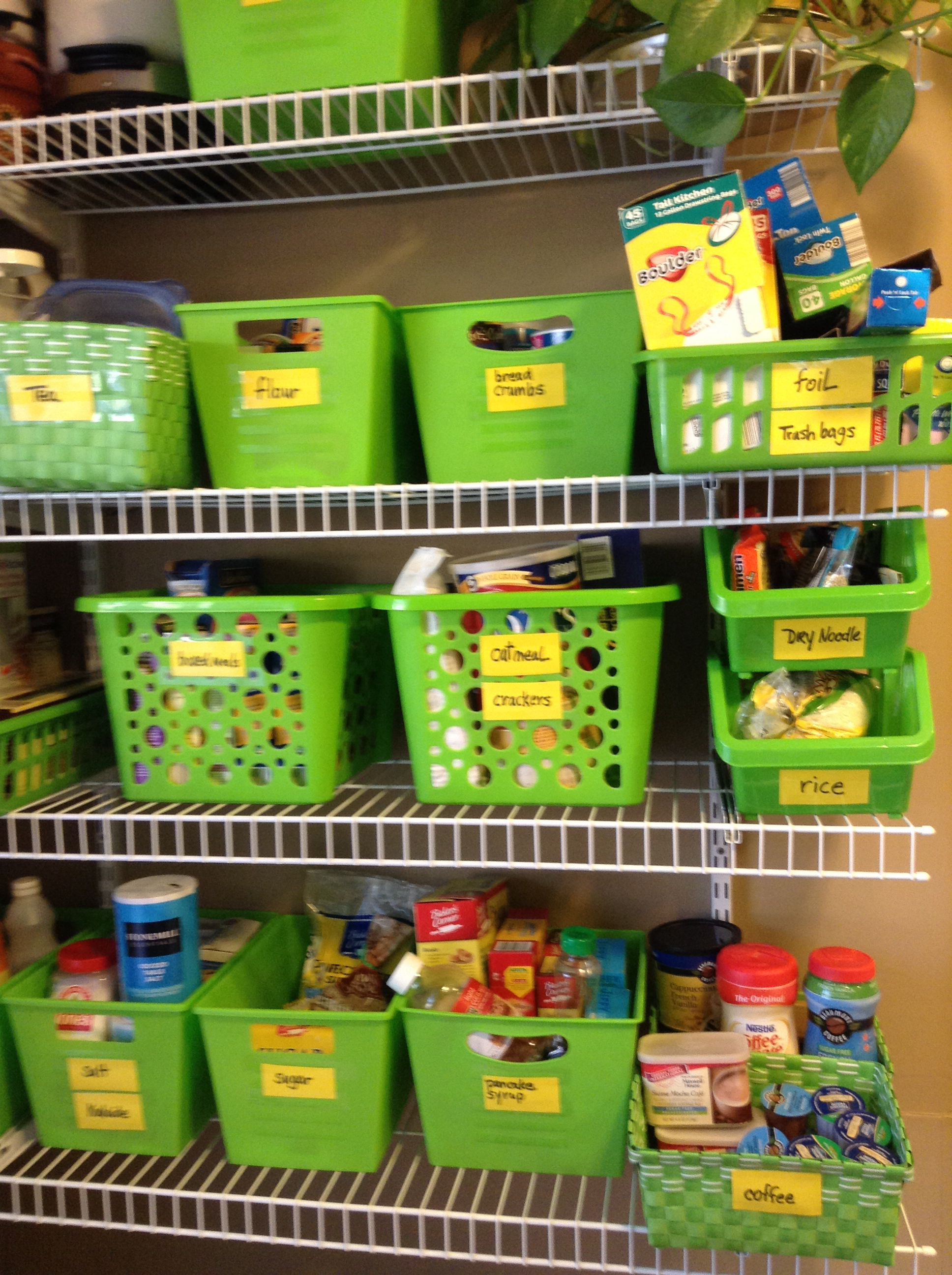 Green apple storage bins with yellow post it notes for Plastic fish bowls dollar tree