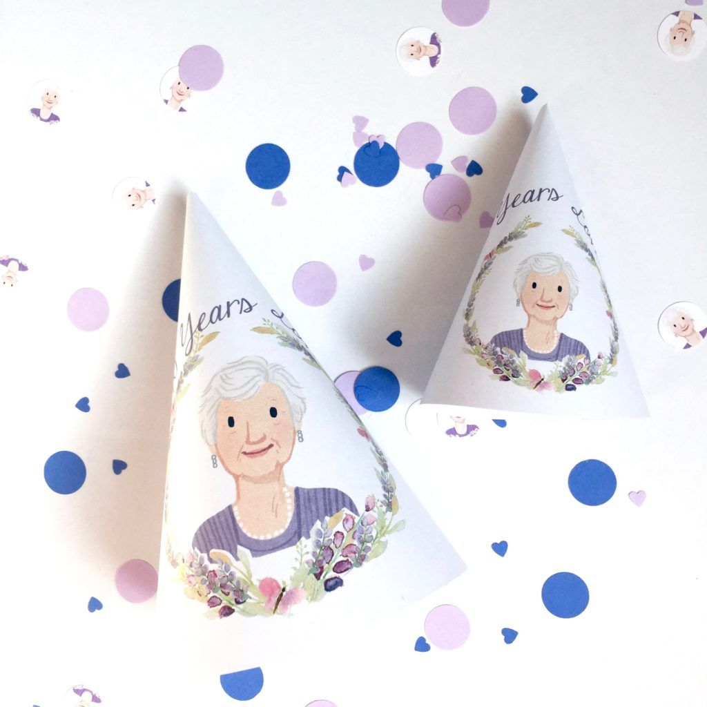 Personalized Party Hats For A 90th Birthday Celebration Using The Guest Of Honors Photo Milestone Ideas Grandmas With