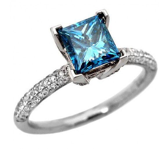1.67ct Princess Cut Blue Diamond Engagement Ring I said, YES YES YES!!