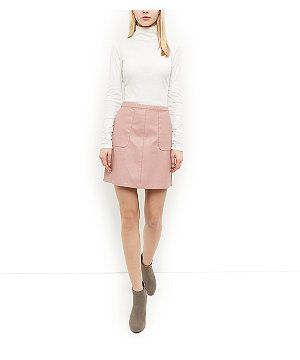 Shell Pink Leather-Look A-Line Skirt | New Look | Clothes ...