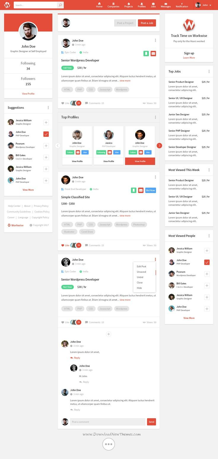 workwise is clean and modern design psd template for freelancer