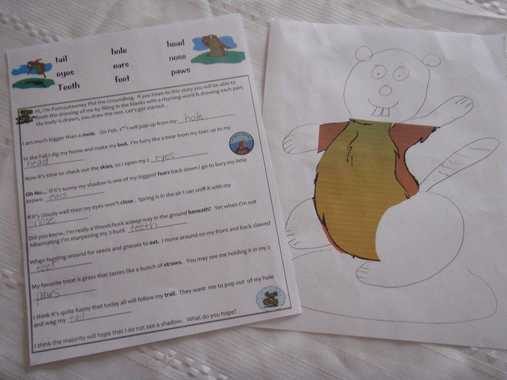 Groundhog Draw A Rhyme Free Printable Teaching Heart Blog Groundhog Day Activities Classroom Freebies Groundhog Day [ 768 x 1024 Pixel ]