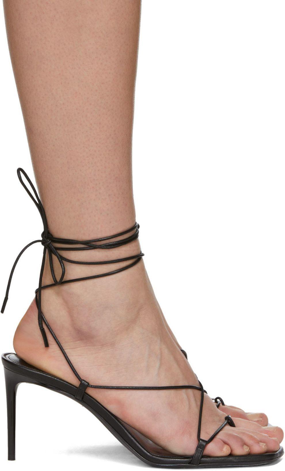 Saint Laurent Black Paris Heeled Sandals Women Men Shoes Kitten Heel Shoes Heels
