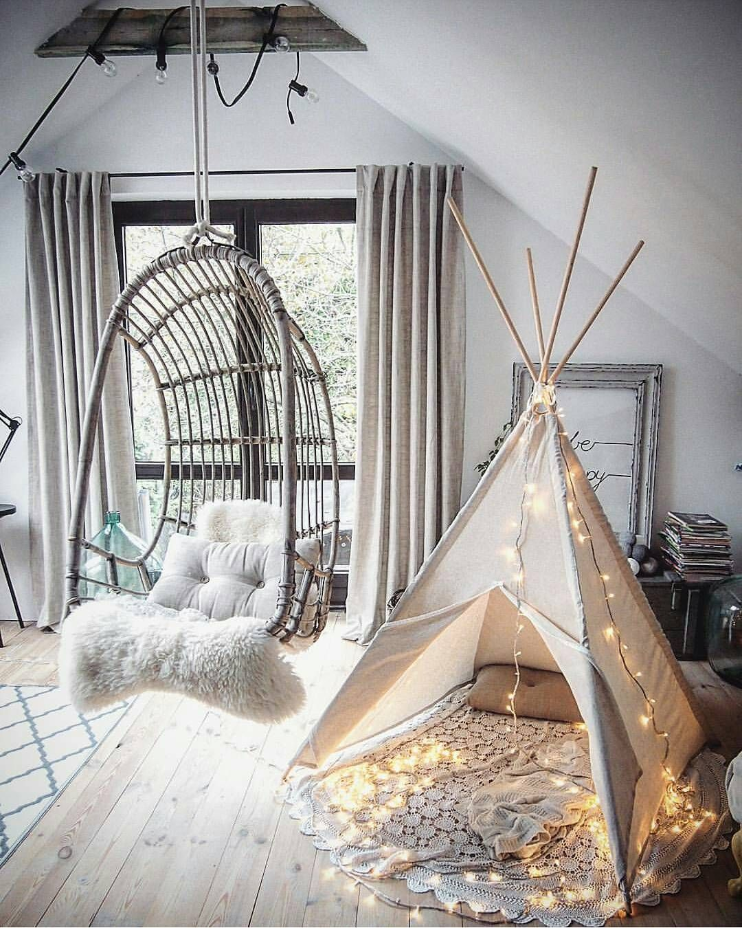 39 Attic Living Rooms That Really Are The Best: Hello, Gorgeous Tent And Hanging Chair! Two Things I