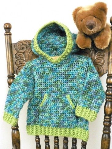 e81f046ce Toddler Hoodie, very cute free crochet pattern, size 6mos to 6 yrs ...