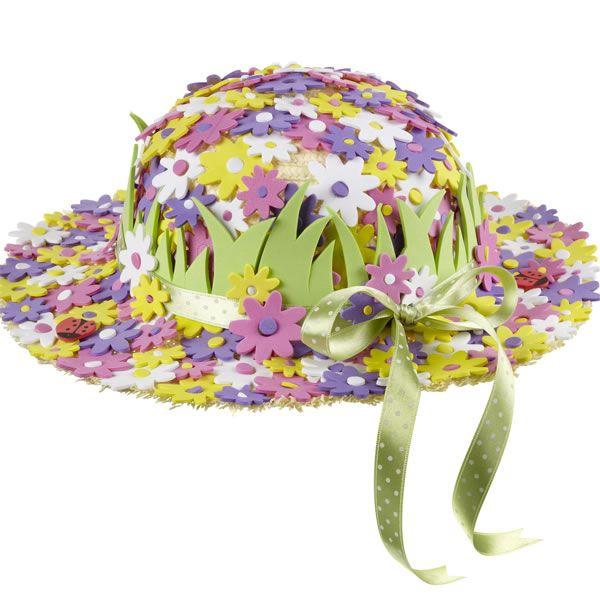 Sombrero decorado con flores de goma eva sombreros - Decoracion de sombreros ...