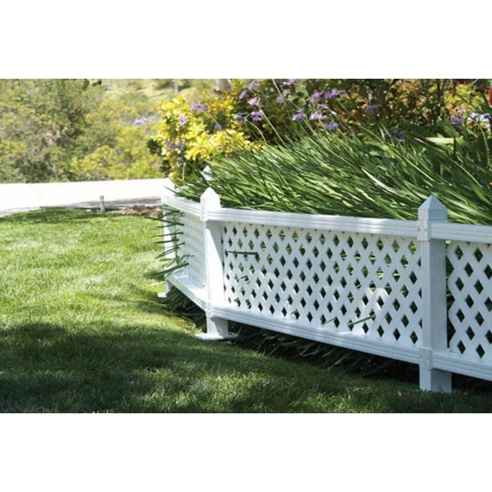 SnapFence 1 ft. H x 4 ft. W White Modular Vinyl Lattice Fence Panel on fence with mesh, fence with garden, fence with pickets, fence with plywood, fence with pattern, fence with gates, fence with columns, fence with trellis, fence with wire, fence with leaves, fence with trim, fence with flowers, fence with balusters, fence with brick, fence with shutters, fence with windows, fence with tree, fence with chain, fence with wood, fence with pergola,