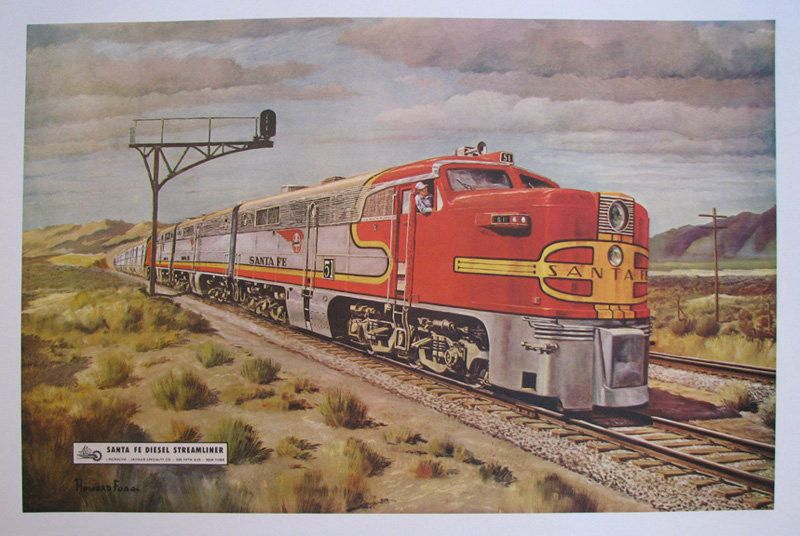 1948 santa fe diesel streamliner vintage railroad train poster for Vintage train posters