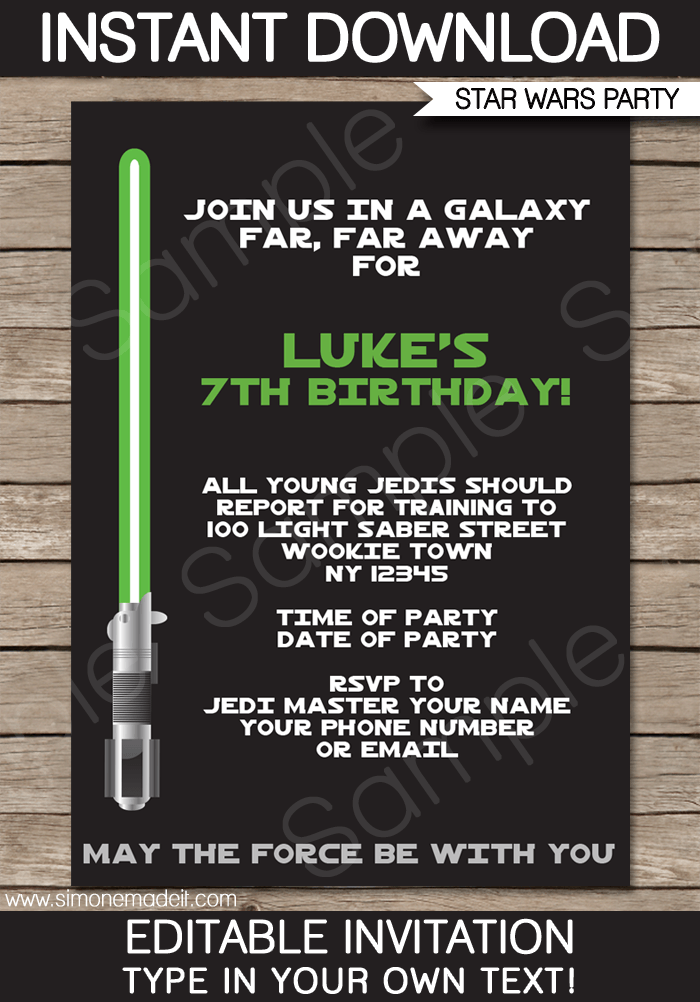 Star Wars Party Invitations Template Green Blue Red Blue