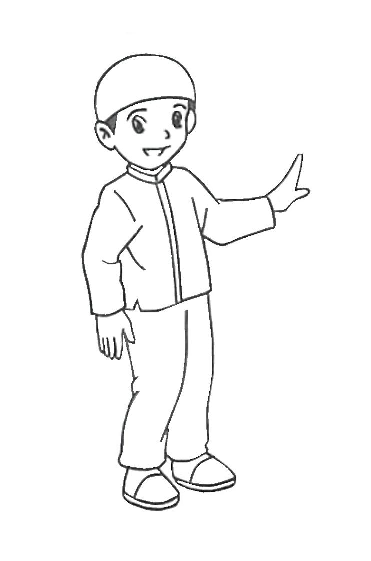 Gambar Mewarnai Anak Muslim 4 Kartun, Buku mewarnai