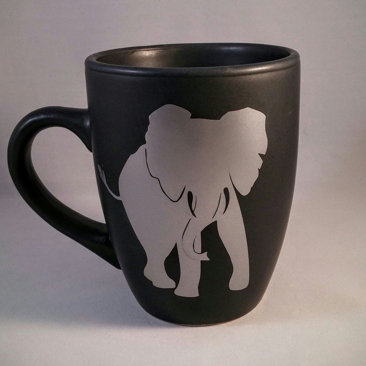 Elephant coffee mug matte black mug with matte silver