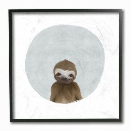 The Kids Room by Stupell Baby Sloth Animal Kids Painting Framed Giclee Texturized Art by Leah Straatsma, Size: 12 x 12, Multicolor #babysloth