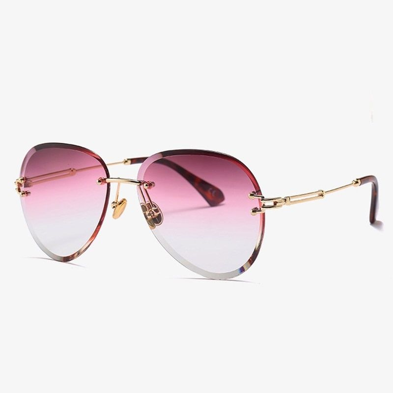 f6bfd63c473 Luxury Rimless Aviator Sunglasses Women Italy Brand Designer Gradient Sun  Glasses For Female High Quality Shades Clear Eyewear