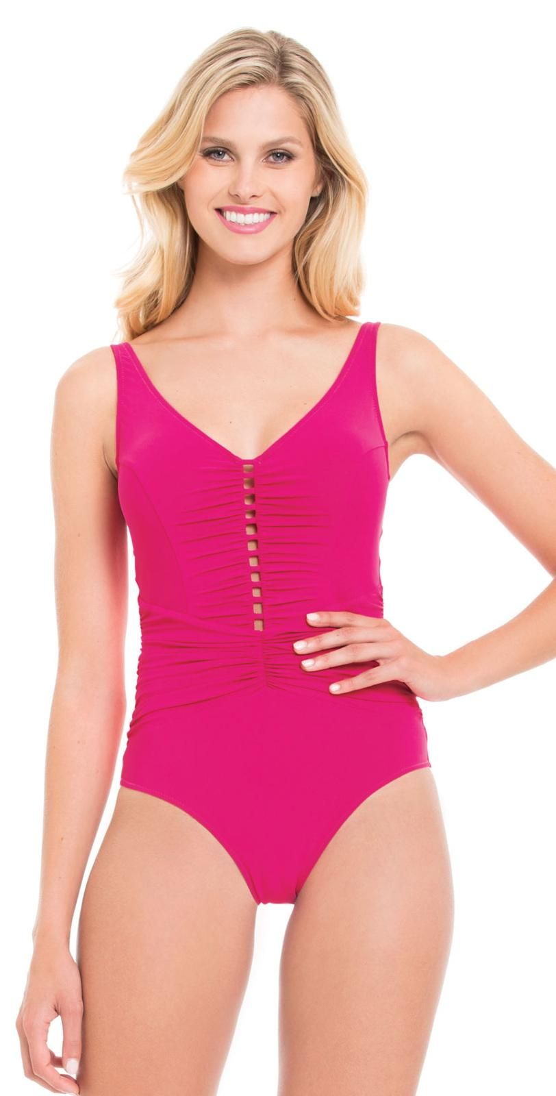 99eddd95e6 Profile by Gottex Rose Waterfall V-Neck One Piece Front View from South  Beach Swimsuits