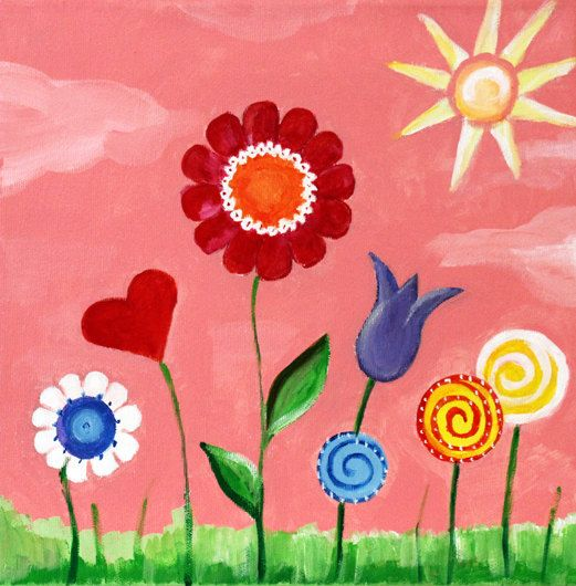 Children 39 s wall art sun and flowers art for nursery or for Canvas painting for kids room