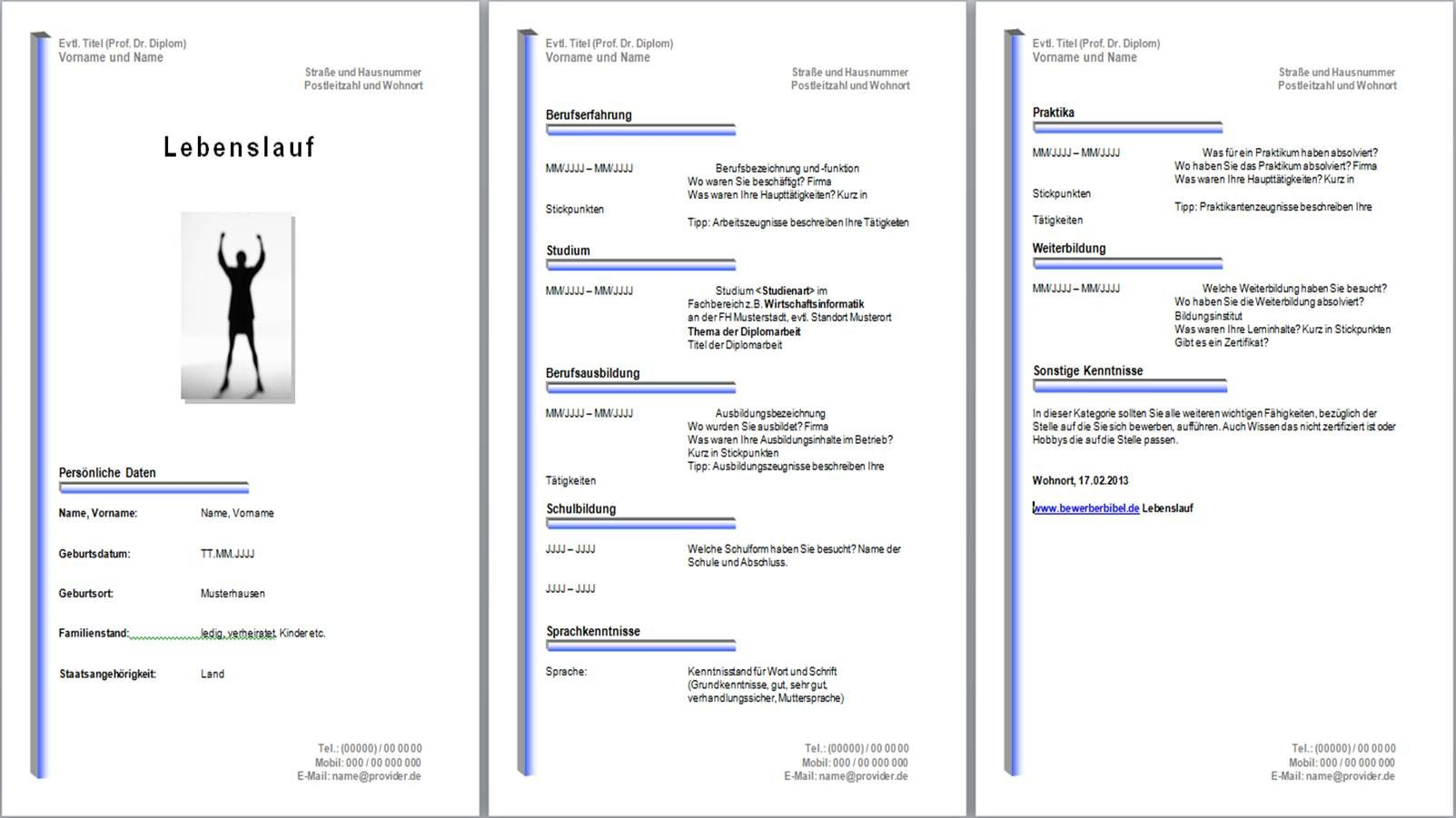 Lebenslauf Muster 2011 Version 1 | Lebenslauf Vorlage | Pinterest ...