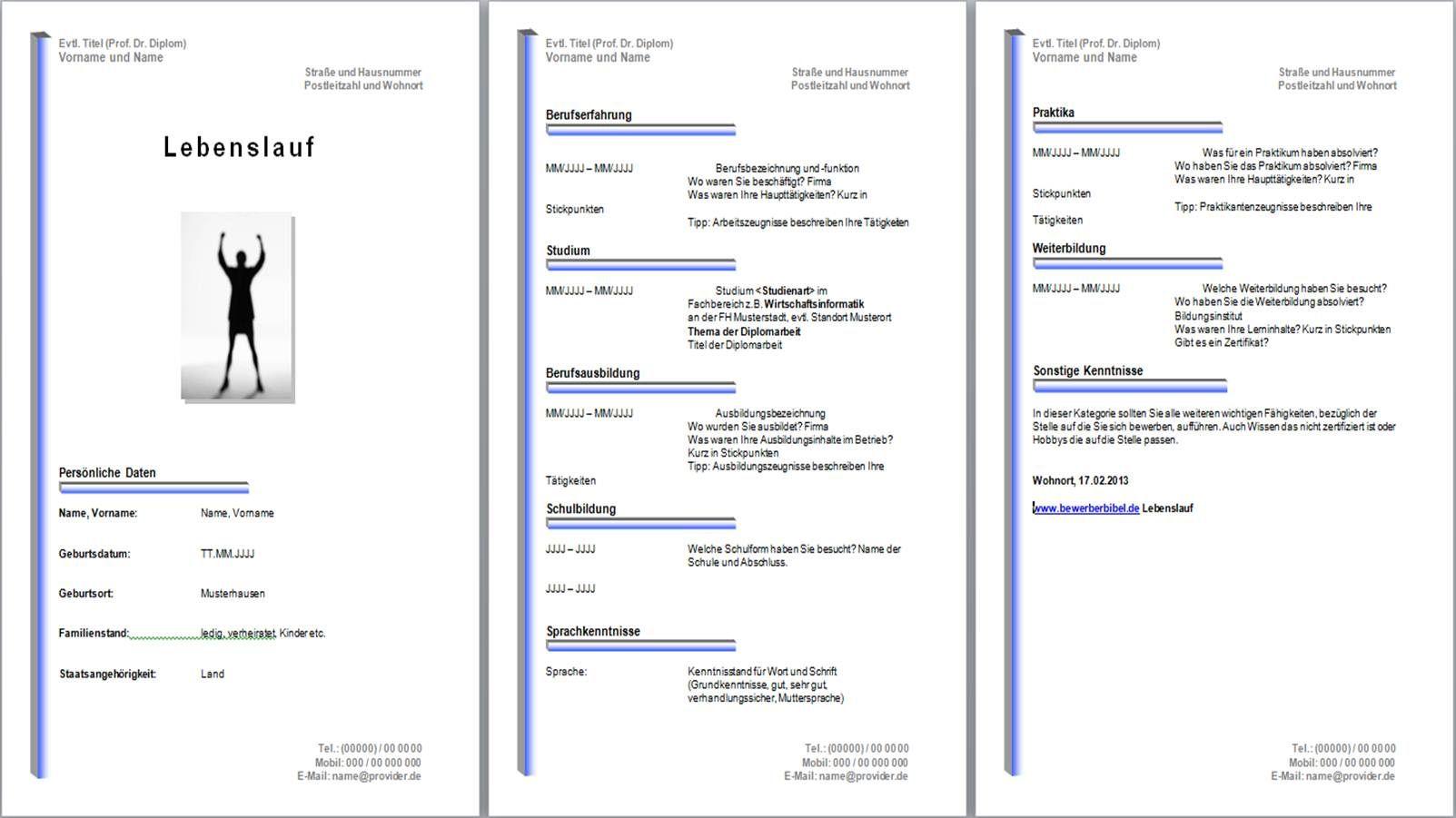 Lebenslauf Muster kostenlos, Muster, Beispiel gratis downloaden ...