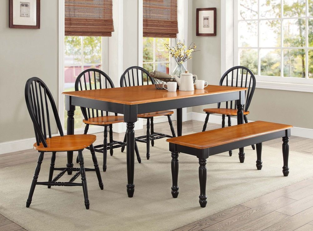6pcs solid wooden table set 4 dining chairs bench