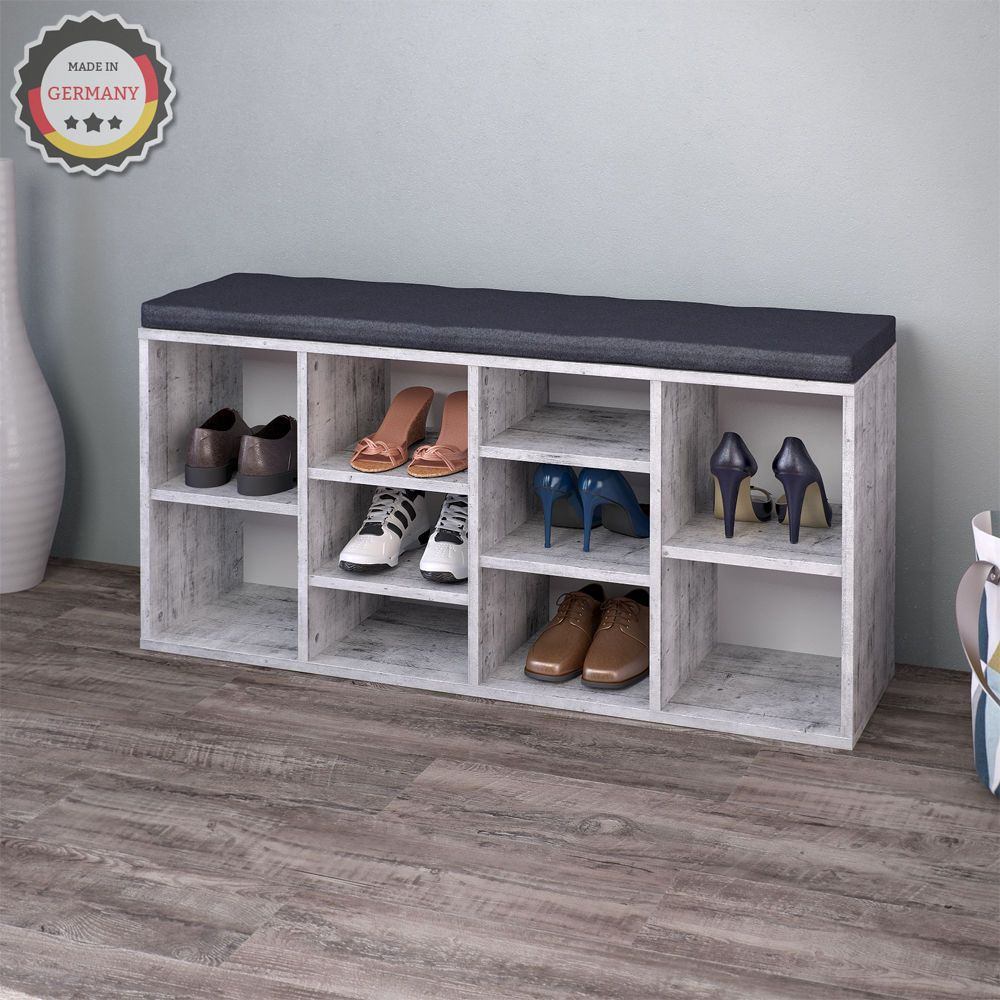 details zu vicco schuhschrank 10 schuhe schuhbank schrank regal auflage sitzbank beton schrank. Black Bedroom Furniture Sets. Home Design Ideas
