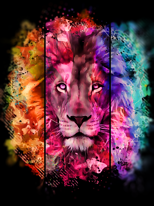 Coloured Lion By Https Www Deviantart Com Maniakuk On Deviantart 3d Wallpaper Lion Lion Wallpaper Iphone 3d Wallpaper For Mobile