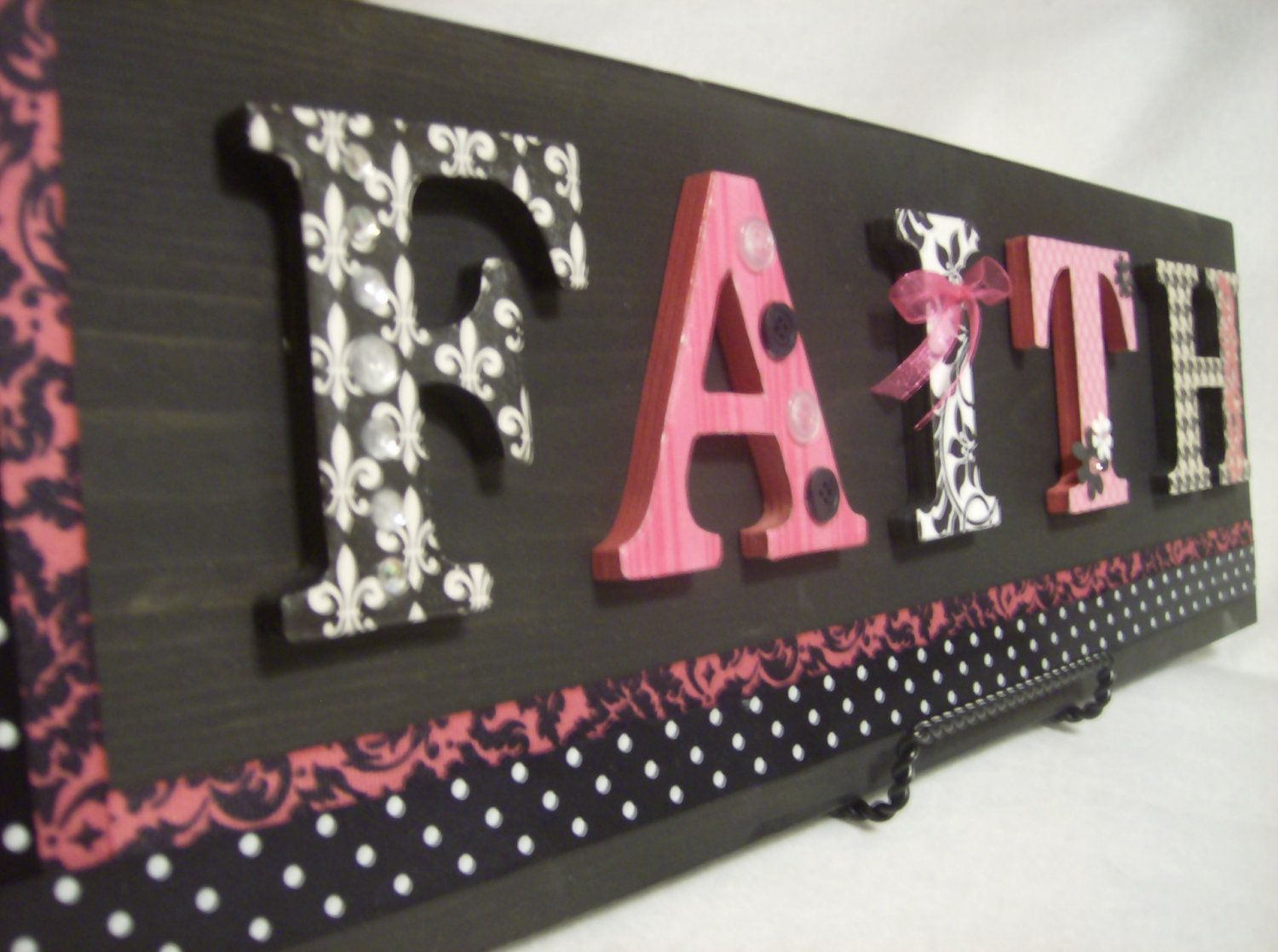 Pink Black Customized Name Sign Plaque Personalized Wall Hanging Baby Kids Nursery Art 80 00