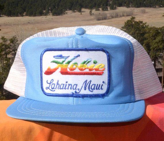 0852f32e27aca3 vintage 70s mesh trucker hat HOBIE hawaii maui rainbow patch snapback  baseball cap 80s