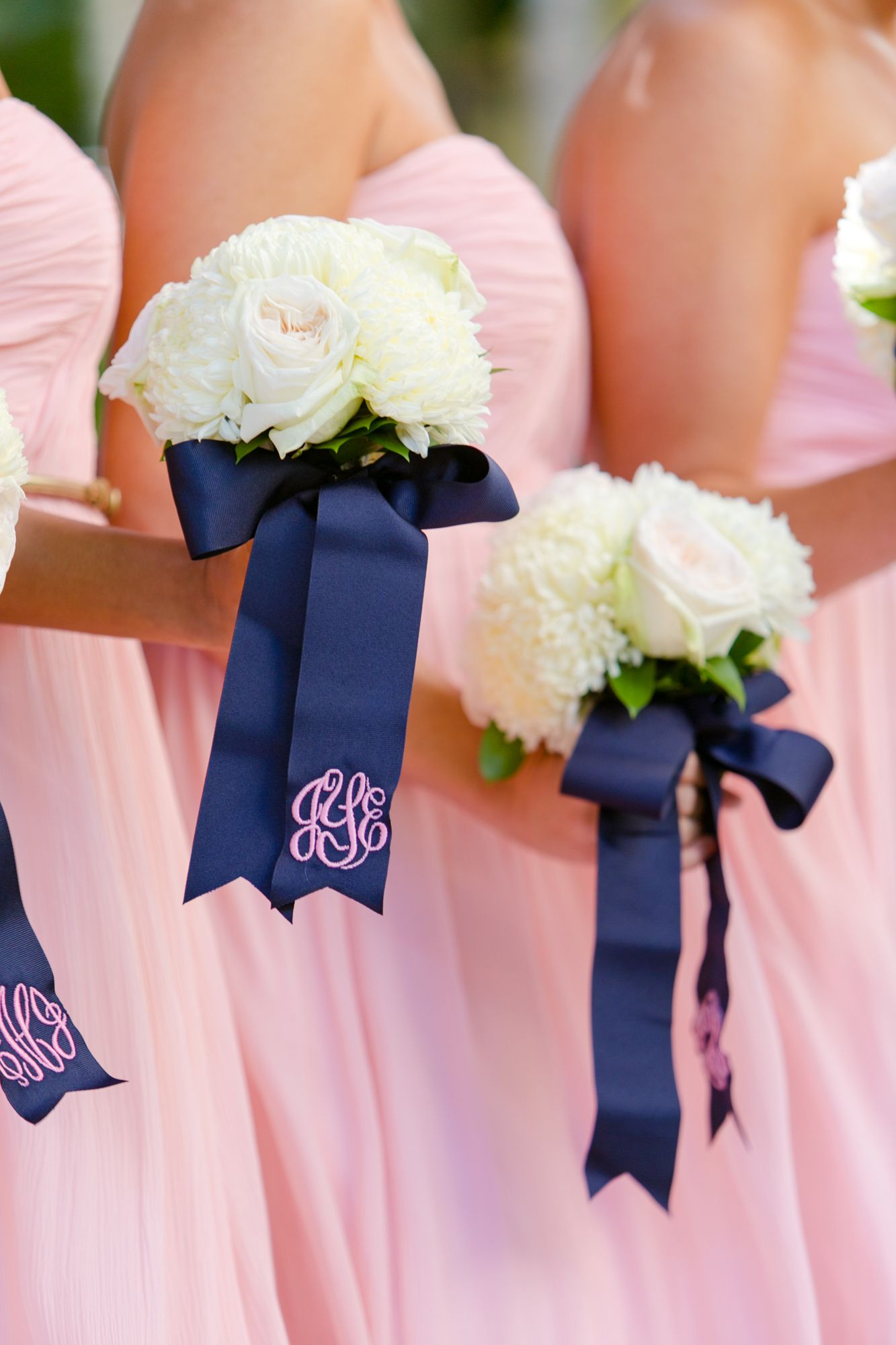 White Peony Bridesmaid Bouquet Monogram Wrap