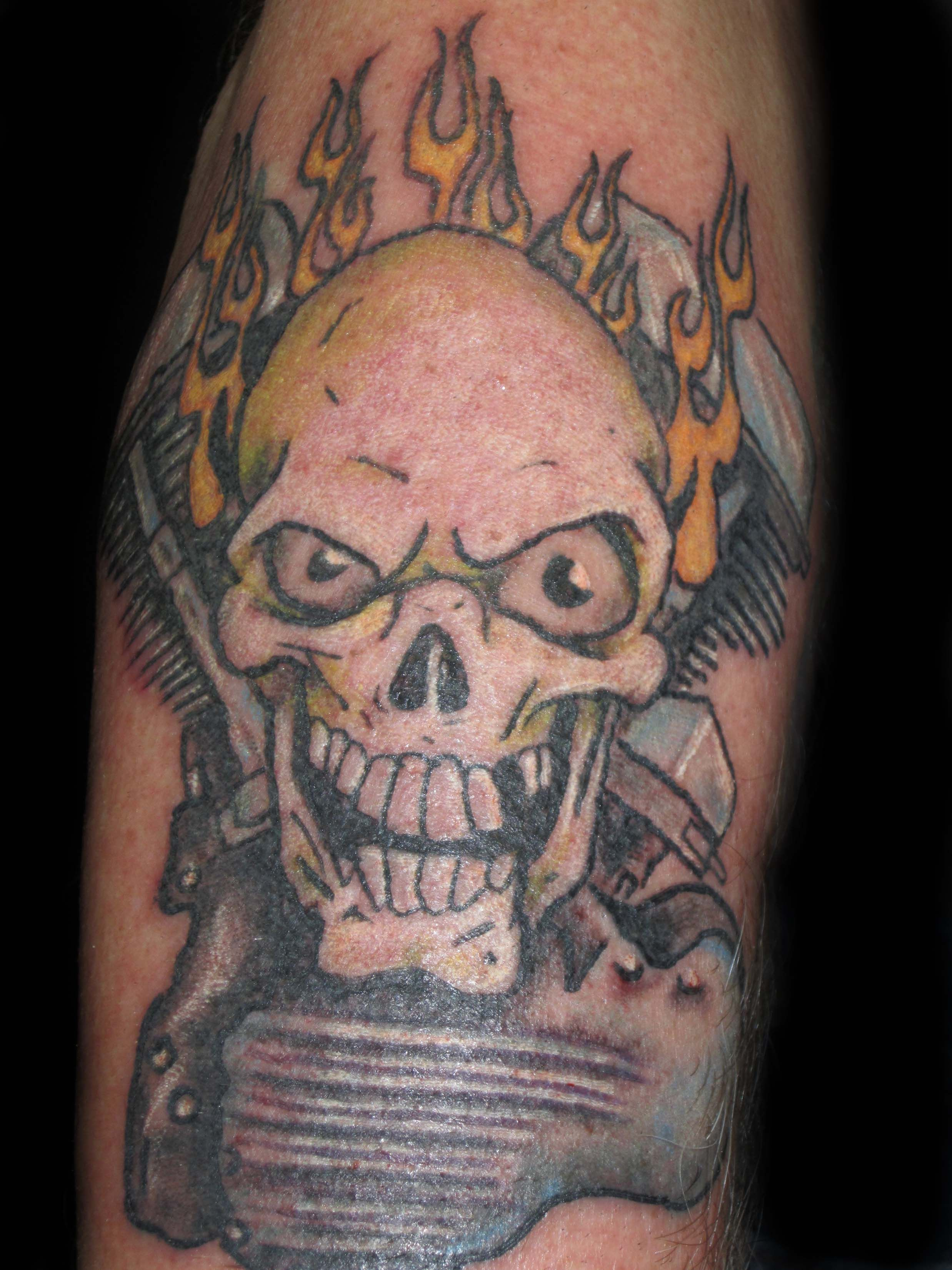 Skull tattoo, panhead tattoo, motorcycle tattoo, motor ... - photo#38