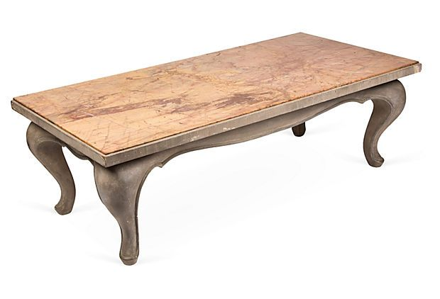 Italian Rectangular Coffee Table With Exaggerated Cabriole Legs And Gray Painted Base Heavily Veined Marble Top In Coffee Table Rectangular Coffee Table Table