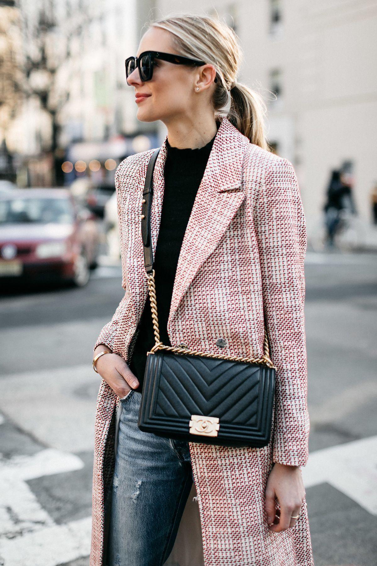 60d546d726b093 Blonde Woman Wearing HM Tweed Coat Ripped Jeans Chanel Black Chevron Boy  Bag Fashion Jackson Dallas Blogger Fashion Blogger Street Style NYFW # ...