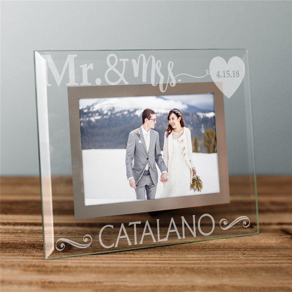 Engraved Mr And Mrs Glass Frame Wedding Frames Personalized Wedding Frames Frame