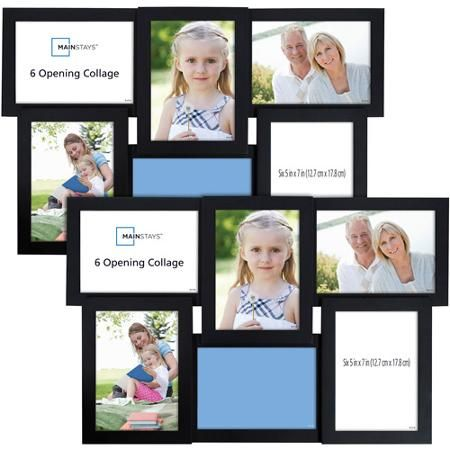 Mainstays 6-Opening 5x7 Collage with Glass, Black, 2pk | Frames for ...