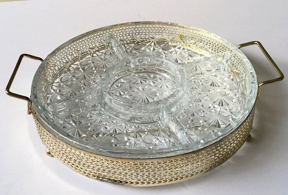 Vintage Daisy Button Divided Glass Relish Platter, Silver Plated Gold Tone  Caddy With Relish Dish