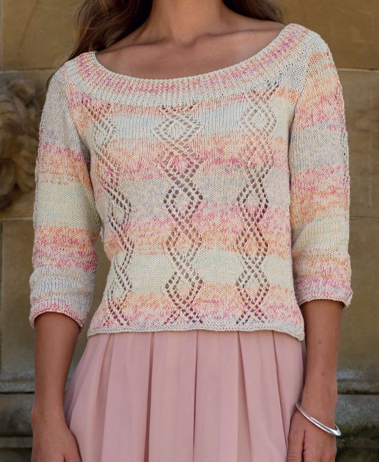 Free Crochet Pattern V Neck Pullover : Lace Pullover Free Knitting Patterns Knit patterns and ...