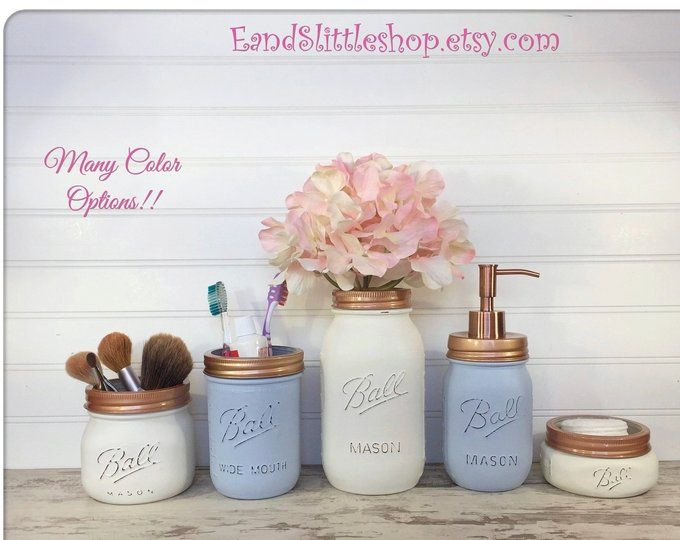 Farmhouse Mason Jar Bathroom Set-Copper bathroom set-Farmhouse Decor