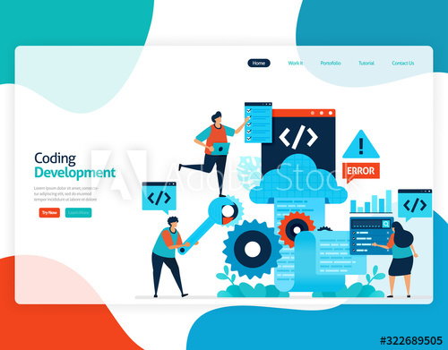 Homepage Landing Page Vector Flat Illustration Of Coding Development Repair And Maintenance Of Cloud Storage T Repair And Maintenance Flat Illustration Coding