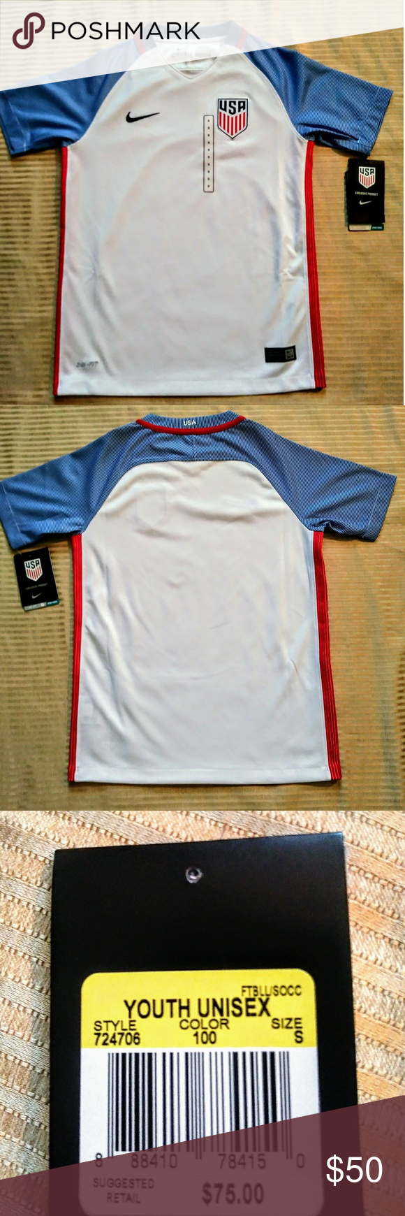 6096e667ac2c7 Kids small Nike Dri-fit USA MLS soccer jersey . brand new with tags . Kids  unisex . Soccer kids fans . size small Nike Shirts   Tops