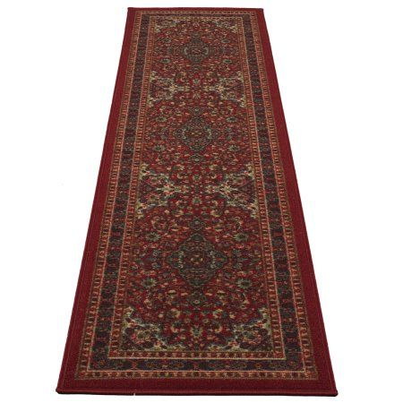 Ottomanson Ottohome Collection Persian Heriz Oriental Design Red or Sage green Area and Runner rugs with Non-Skid Rubber Backing