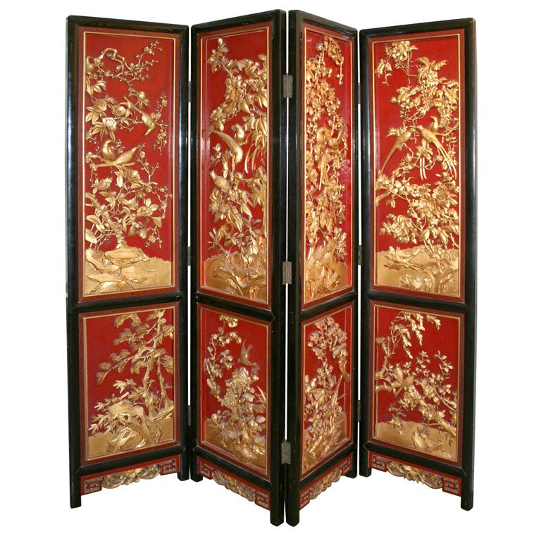 1940s Handcarved Gilt Wood And Painted Chinese Screen Room