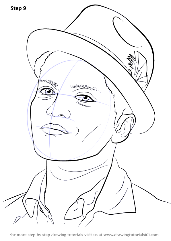 Learn How To Draw Bruno Mars Singers Step By Step Drawing Tutorials In 2020 Drawing Tutorial Tumblr Drawings Easy Celebrity Drawings