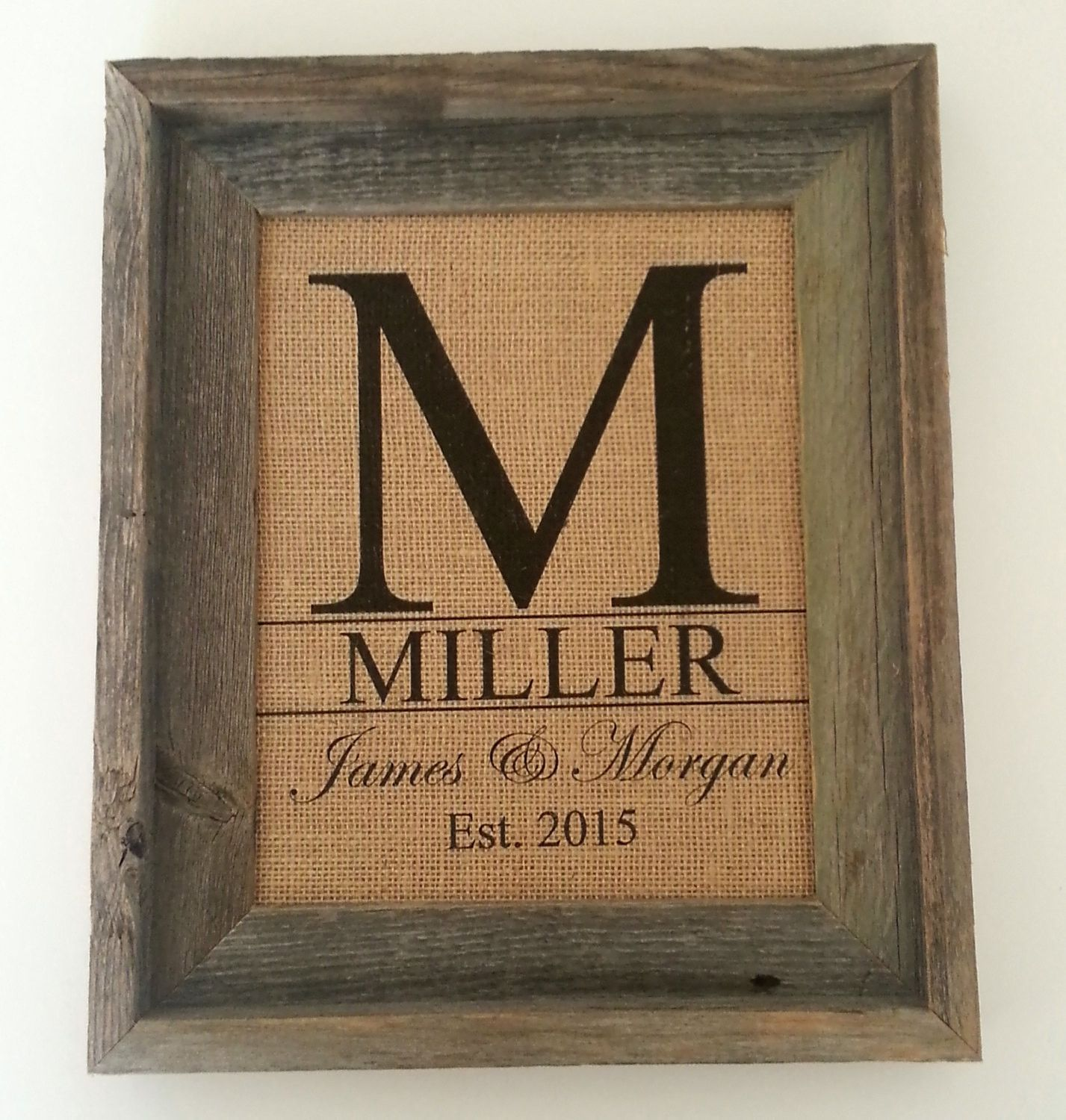 Burlap Wall Art, Initial Art Print, Family Name Decor - Frame Not Included