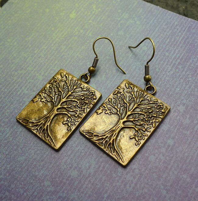 Bronze Tree of Life Earrings - Dangling Antiqued Brass World Tree Earrings, Ygddrissl Jewelry - Everyday Spiritual Earrings - SE-GSP256 by SilverEnchantments on Etsy