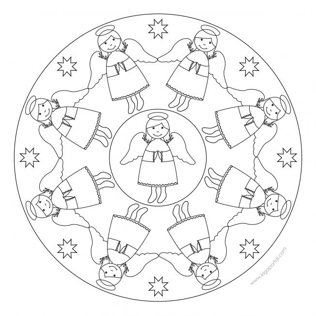 engelmandala 3  ausmalbilder weihnachten malvorlagen