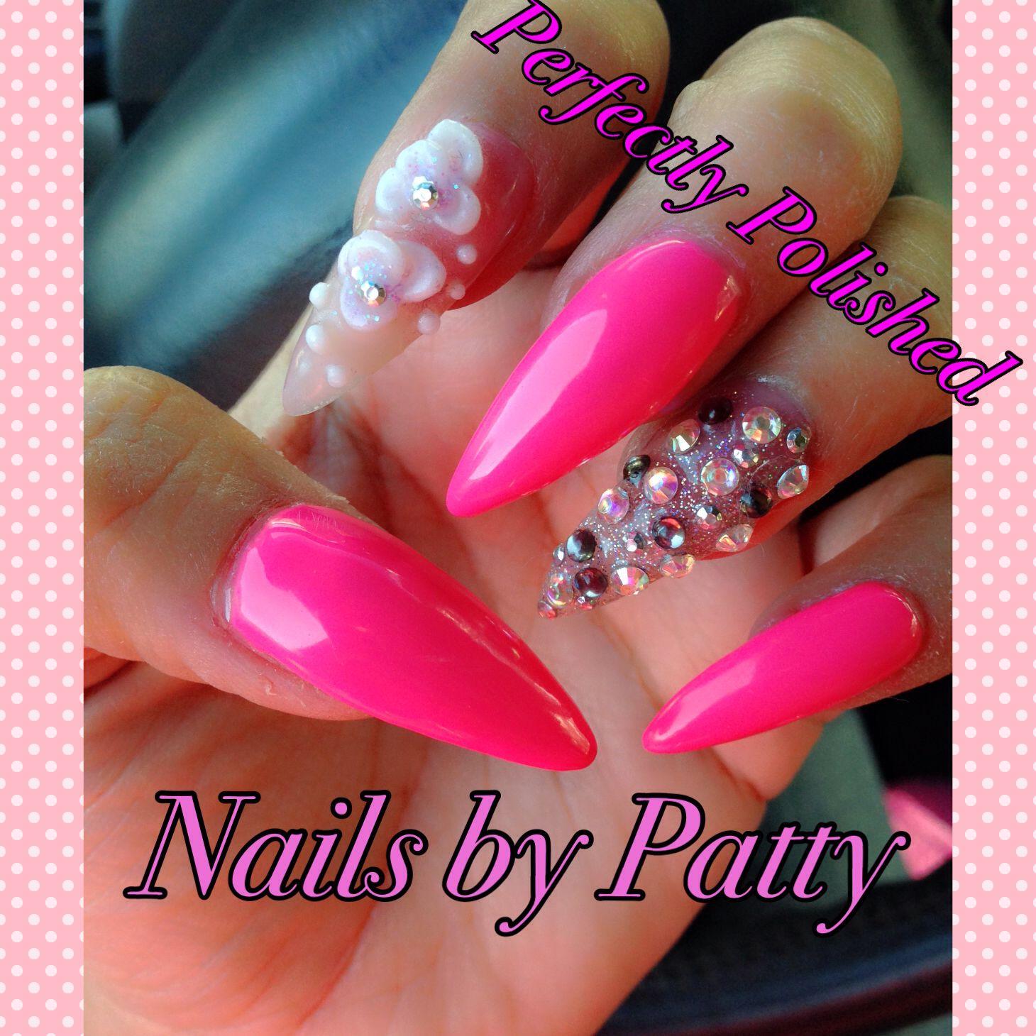 stilletos #bling #gels #acrylic #freeform #nails #nailart | Nails ...