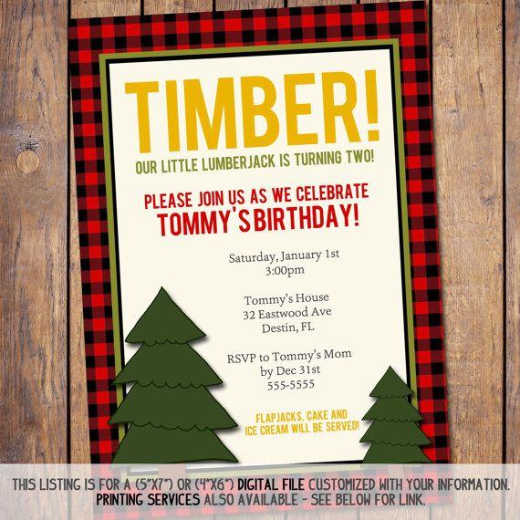 Boys Birthday Invitation Lumberjack Invite Wording