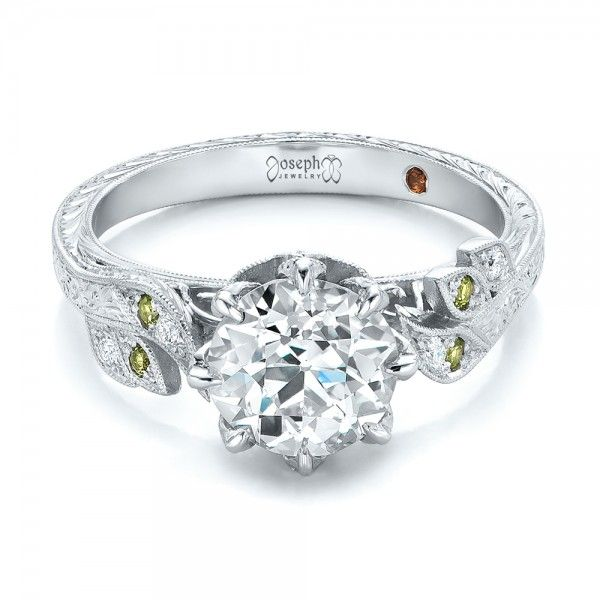 Lovely Custom Diamond and Peridot Engagement Ring JosephJewelry Bellevue Seattle